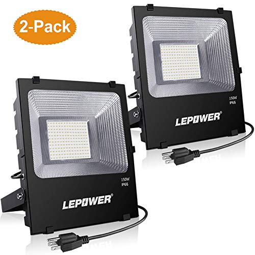 LEPOWER New Craft 2 Pack 150W LED Flood Light, 11000lm Super Bright Work Lights with Plug, 6500K White Light, IP66 Waterproof Outdoor Floodlights Fixtures for Garage, Playground, Basketball Court,Yard by LEPOWER (Image #7)