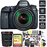Cheap Canon EOS 6D Mark II DSLR Camera + 24-105mm f/3.5-5.6 Lens + 64GB Memory Card (1x 64) + Canon 17-40mm Lens Wide Angle Combo