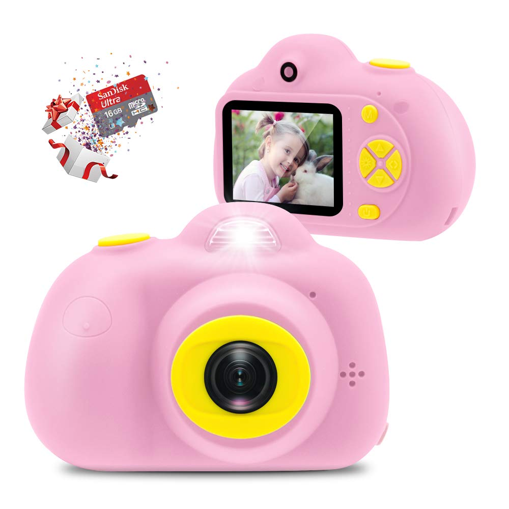 [16GB Memory Card Included] Veroyi Kids Camera 8.0MP Rechargeable Digital Front and Rear Selfie Camera, Toys Gift for 4-10 Years Old Boys and Girls (Pink) by Veroyi