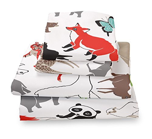 Twin Animal Print Sheet Set for Kids Bedding- Double Brushed Ultra Microfiber Luxury Bedding Set By Where the Polka Dots (Double Bedding Set)