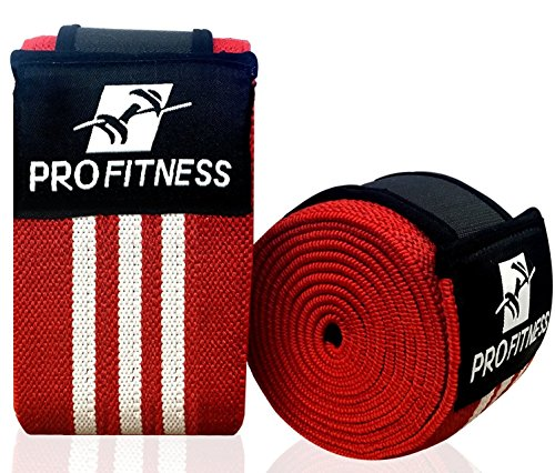 ProFitness Knee Wraps (Pair) with Velcro for Cross Training WODs,Gym Workout,Weightlifting,Fitness & Powerlifting - Best Knee Straps for Squats - For Men & Women- 72'-Compression & Elastic Support W/R