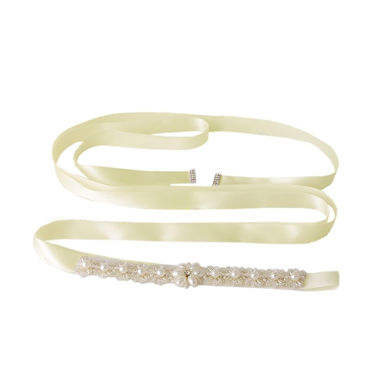 Azaleas Women's Rhinestone Crystal Wedding Bridal Sash Belt Ivory One Size