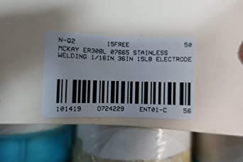 Mckay ER308L 07665 Stainless Welding Electrode 1//16in 36in 15lb