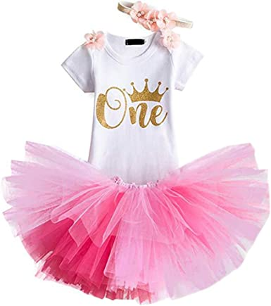 Unicorn Toddler Baby Girls Romper Skirts First Birthday 3pcs Outfits Clothes Set