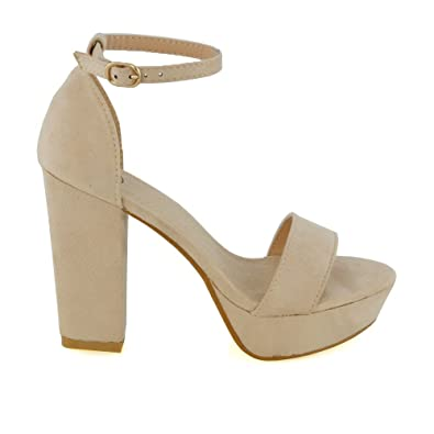 5d81c3efb74 ESSEX GLAM Womens Platform Block Heel Sandals Nude Faux Suede Ankle Strap  Shoes 8 B(