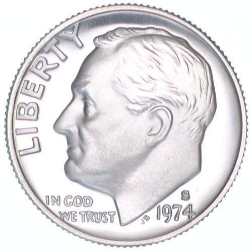 1974 S Proof Clad Roosevelt Dime PF1