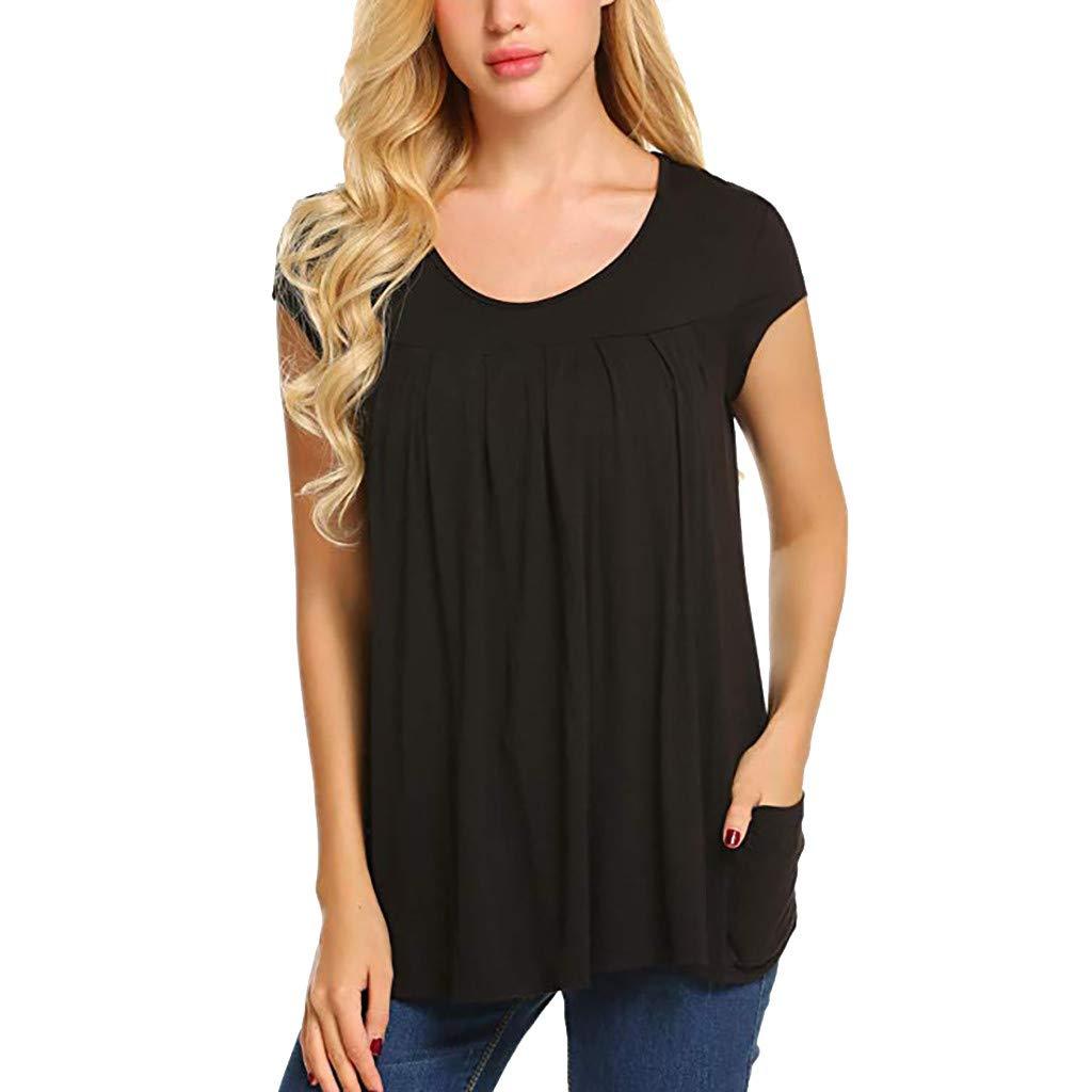 WUAI Maternity T-Shirt,Womens Short Sleeve Loose Fit Ruched Side-Shirred Nursing Top Breastfeeding Tee Shirt(Black,Large)