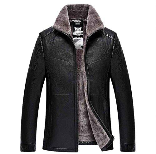 Chaqueta 170 de black chaqueta de de de de hombres la más tamaño m la Chaqueta PU invierno de lana el chaqueta imitación los cuero de de negocios wSq7Fxa0p