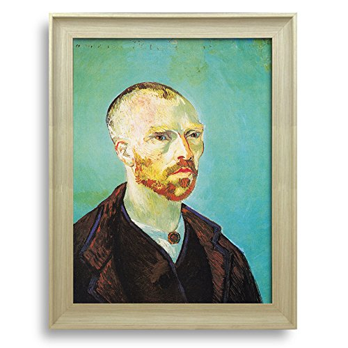 Self portrait dedicated to Paul Gauguin by Vincent Van Gogh Framed Art Print Famous Painting Wall Decor Natural Wood Finish Frame