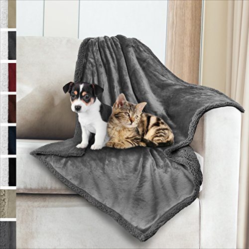 Premium Sherpa Dog Blanket | Pet Throw Blanket for Puppy, Small Dog, Medium Dog or Cat Kitten | Reversible, Soft, Lightweight Microfiber Throw – 30 x 40 Inches (Grey Grey)