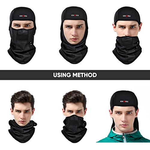 KINGBIKE Balaclava Ski Mask Face Masks Men Women Windproof Warm Hood Winter Thermal Fleece Fabric with Breathable Vents for Cold Cycling Skiing Motorcycle Snowboard Tactical Hunting Mask (Black)