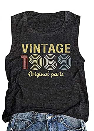 GREFLYING Vintage 1969 Original Parts 50th Birthday Gift Womens Tank Tops Retro Anniversary Cute Funny Summer Casual Vest Tees - Grey - Small