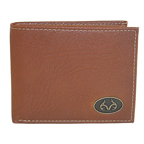 Realtree Men's Leather Bifold Wallet with Burnished Edges, Tan - Realtree Metal
