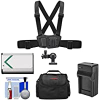 Sony AKA-CMH1 Chest Mount Harness with NP-BX1 Battery + Charger + Case + Accessory Kit for Action Cam HDR-AS100V, AS15 & AS30V Camcorders