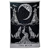 HOLY HOME Freehand Sketching Tapestry 'Moon and Wolf' Tarot Artistic Conception Divination Tablecloth Decorative Cloth Art 60''x80''