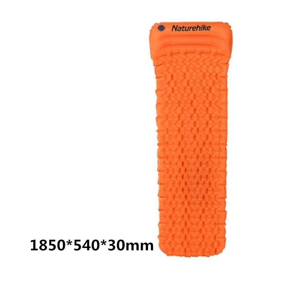 ShiningLove アウトドアテント スリーピングマット ポータブルインフレータブルエアクッション 超軽量エッグスロットクッション 枕付き快適睡眠マット B07JGRNDGC オレンジ