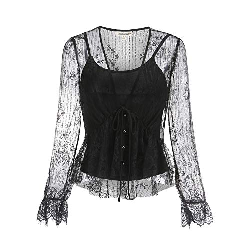 Woven Lace Mesh Open Button Blouse Including Sleeveless Draped Jersey Knit Top, 9046T (Black, Small) ()
