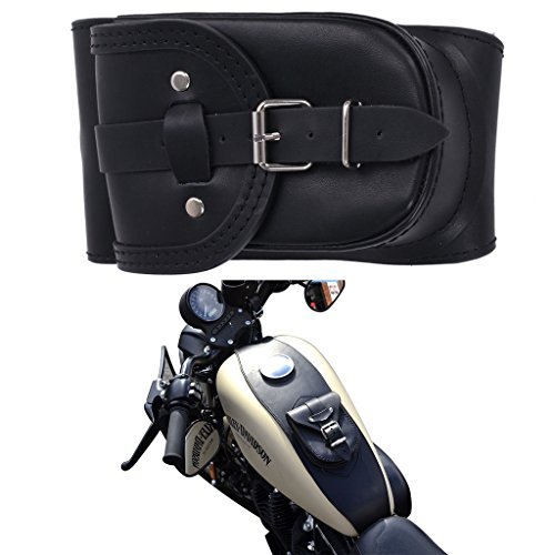Black Tank Panel (Jade Onlines Black PU Leather 4.5 Gallons Tank Chap Cover Panel Bag For Harley Sportster XL 883 1200 Iron)