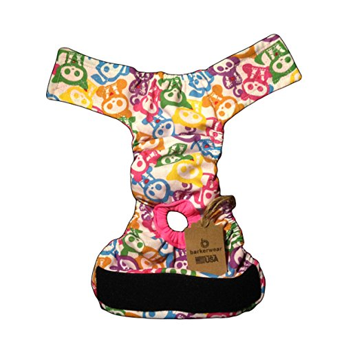 Barkerwear Cat Diapers - Made in USA - Skelanimal Washable Cat Diaper, S, with Tail Hole for Piddling, Spraying or Incontinent Cats
