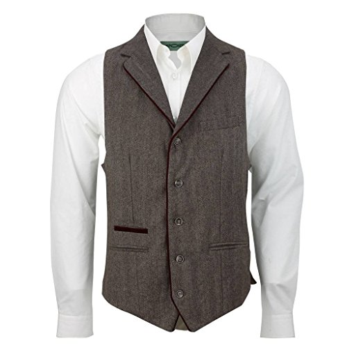 (XPOSED Men Brown Grey Fitted Collar Waistcoat Velvet Trim Herringbone Tweed Casual Vest[WC-4004,Chest UK 48 EU 58,Brown Herringbone])