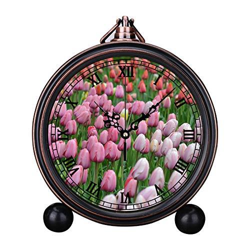 European Retro Alarm Clock Round Silent Quartz Watch Simple Headboard Digital Alarm Clock Bell Alarm Clock Bed of Tulip - Bell Tulip Flower