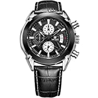 AIMAL Mens Sport Black Leather Strap - Quartz Wrist Watches - Chronograph Calendar and Waterproof