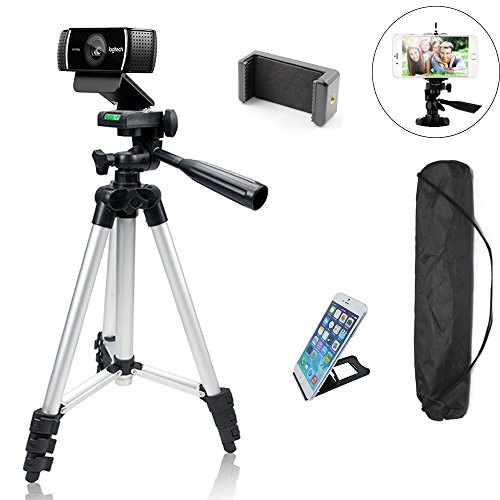 """Professional Camera Tripod Mount Holder Stand for Logitech Webcam C930 C920 C615,iPhone,Cellphone,Cameras with Cell phone Holder Clip -42""""/Silver"""