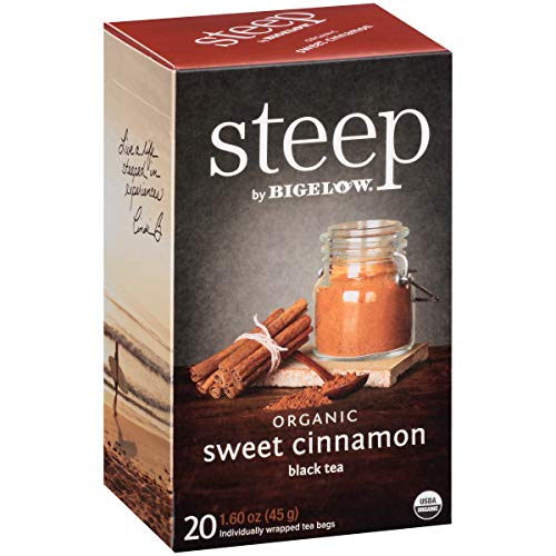 Steep by Bigelow Organic Sweet Cinnamon Black Tea 20 Count (Pack of 6) Organic Caffeinated Individual Black Tea Bags, for Hot Tea or Iced Tea, Drink Plain or Sweetened with Honey or Sugar