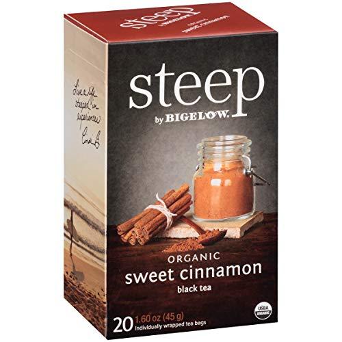 Steep by Bigelow Organic Sweet Cinnamon Black Tea 20 Count (Pack of 6) Organic Caffeinated Individual Black Tea Bags, for Hot Tea or Iced Tea, Drink Plain or Sweetened with Honey or Sugar (Sweet Peace Tea)