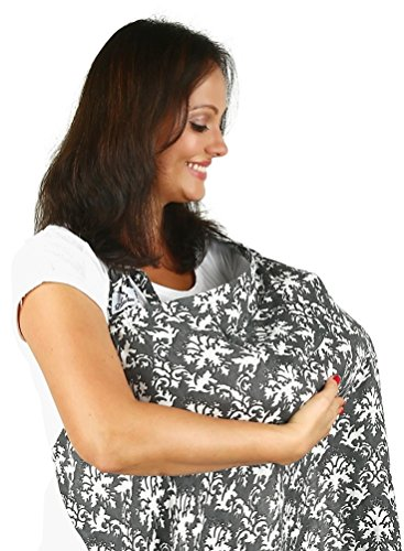 Nursing Cover for Breastfeeding From Bamboo Muslin - Extremely Soft & Breathable. Includes Bamboo Washcloth Pocket and Strap Around the Neck and Waist. Can Be Used As Sun Shade for Stroller or Car Seat. Enhance Your Nursing Experience Now!