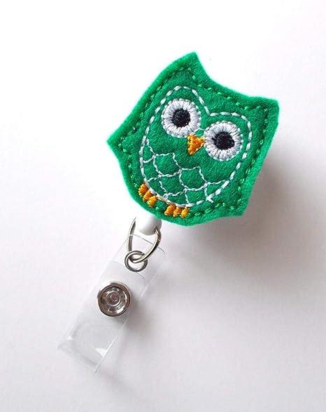 Amazon.com: Kelly Green Owl Retractable ID Felt Badge Holder ...
