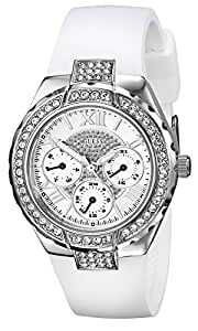 GUESS U0300L1 Women's White and Silver-Tone Sparkling Hi-Energy Mid-Size Watch