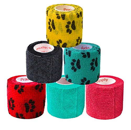 Prairie Horse Supply 2 Inch Vet Wrap Tape Bulk (Red, Yellow, Black and Black Paw Prints on Yellow, Red, Teal) (Pack of 6) Self Adhesive Adherent Adhering Flex Bandage Rap Grip Roll for Dog Cat Pet
