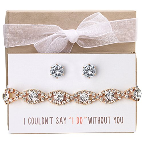 (AMY O Wedding Jewelry Set, Bracelet and Earring Set Gift for Bridesmaids or Bridal Party)