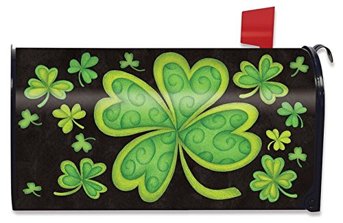 Happy St. Patrick's Day Magnetic Mailbox Cover Shamrocks Standard Briarwood Lane (Magnetic Mailbox Covers)