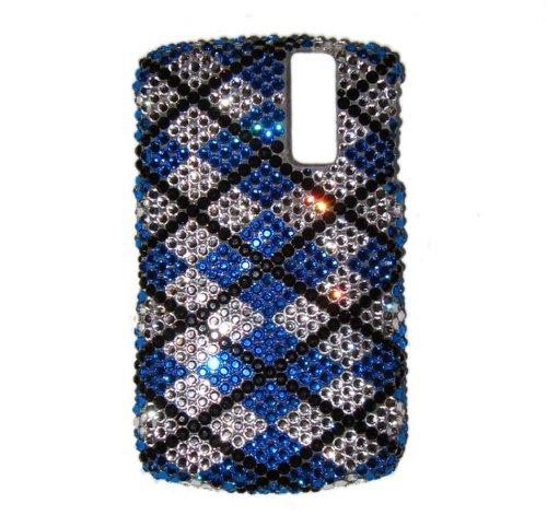 Gossip Girl Swarovski BlackBerry Curve 8300/8310/8320/8330 Bling Cell Phone Case Argyle Blue