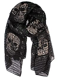 Riah Fashion Sugar Skull Scarf - Long Oversized Lightweight Printed Shawl Wrap