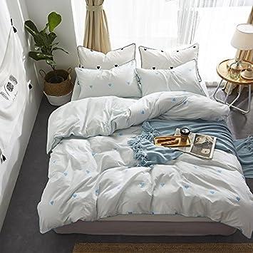 Quatre pièces de coton simple en coton lavable coeur fille fairyfair couette coton styles équipé -4 pièces - bleu