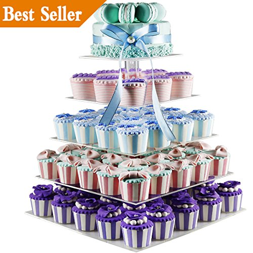 Wedding Tower (5 Tiers Large Acrylic Wedding Cupcake Stands Tower Tree, Clear Tiered Cake Stand Tall Jumbo - Dessert Stands - Cupcake Display Stand - Cupcake Tower 5 Tier (Unique Bubble, Square))