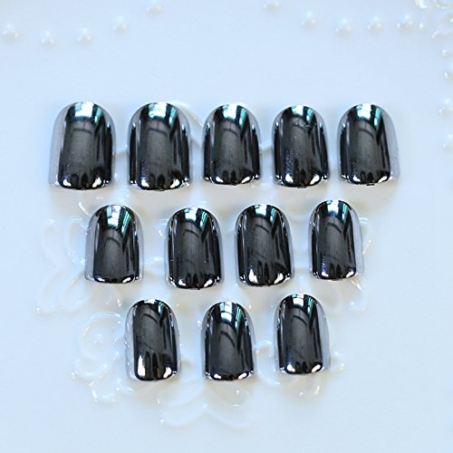 Metal Style Mirror Acrylic Nails Square Silver Black Fake Nails Fashion Manicure Decoration Tips 24pcs with Glue Sticker Z197-2