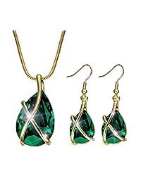 Akvode Fashion Easter Sunday Womens 18K Swarovski Crystal Teardrop Pendants Jewelry Sets Women's Necklaces Earrings (Green)