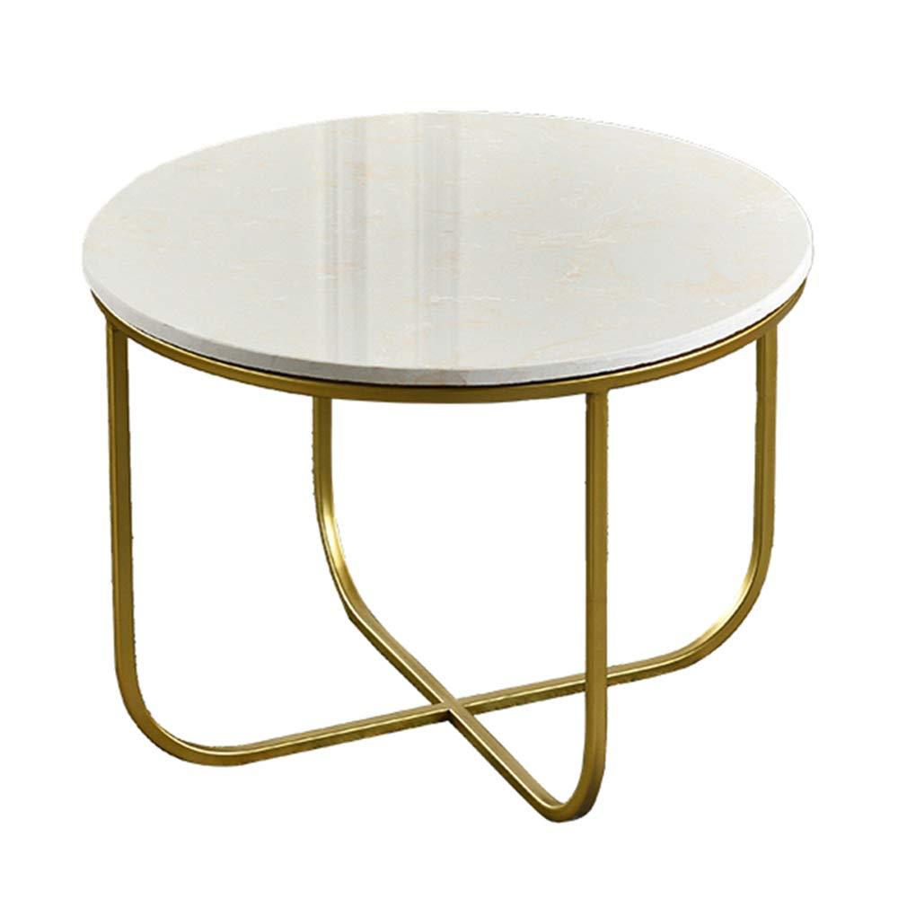 CHUNLAN 大理石の丸いコーヒーテーブル、錬鉄製のサイドテーブル、ゴールド、リビングルームのベッドルームに適し、55 * 42 cm B07MBZ139S