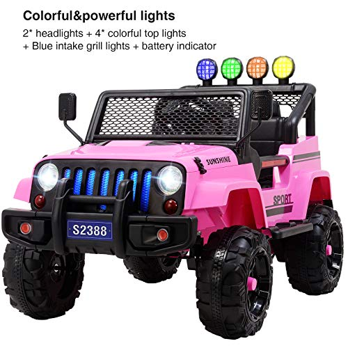 Uenjoy Electric Kids Ride On Cars 12V Battery Motorized Vehicles W/ Wheels Suspension, Remote Control, Music& Story Playing, Colorful Lights, Sunshine Model, Pink by Uenjoy (Image #8)
