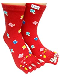 Winter Women Toe socks Funky Happy mushroom printing cotton Long sock-red