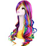 RightOn Women Girls 26 Long Wavy Rainbow Wig with Wig Cap