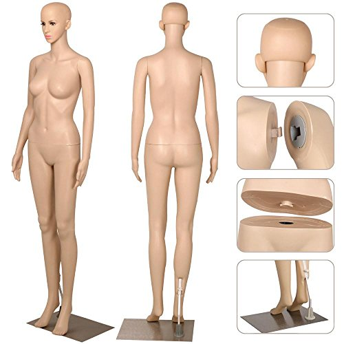 """go2buy Female Dress Form Plastic Mannequin Full Body with Metal Base, Great for Displaying, 68.9"""""""
