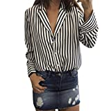 Womens Blouses,Casual Striped Blouse Autumn Tunic Tank Long Sleeve Tops Work Business Clothes Axchongery (Black, XL)