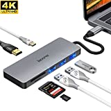 iMXPW SANTORA USB 3.1 Type-C to HDMI Multiport Adapter, 7in1 USB-C HUB w/4K HDMI, USB-C PD, USB 3.0/2.0, SD Card reader for Apple MacBook w/Thunderbolt 3 Port, Pixelbook, Dell, HP, Samsung S8 &more