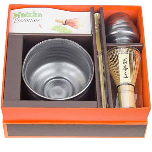 Tea Master Japanese Ceremonial Matcha Green Tea Starter Kit, Modern Gift Set (Black Metallic) by Tea Master (Image #1)