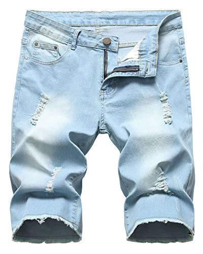 LATUD Men's Ripped Distressed Frayed Raw Hem Denim Jeans Shorts, 1201-Light Blue, US 36 /Tag 36